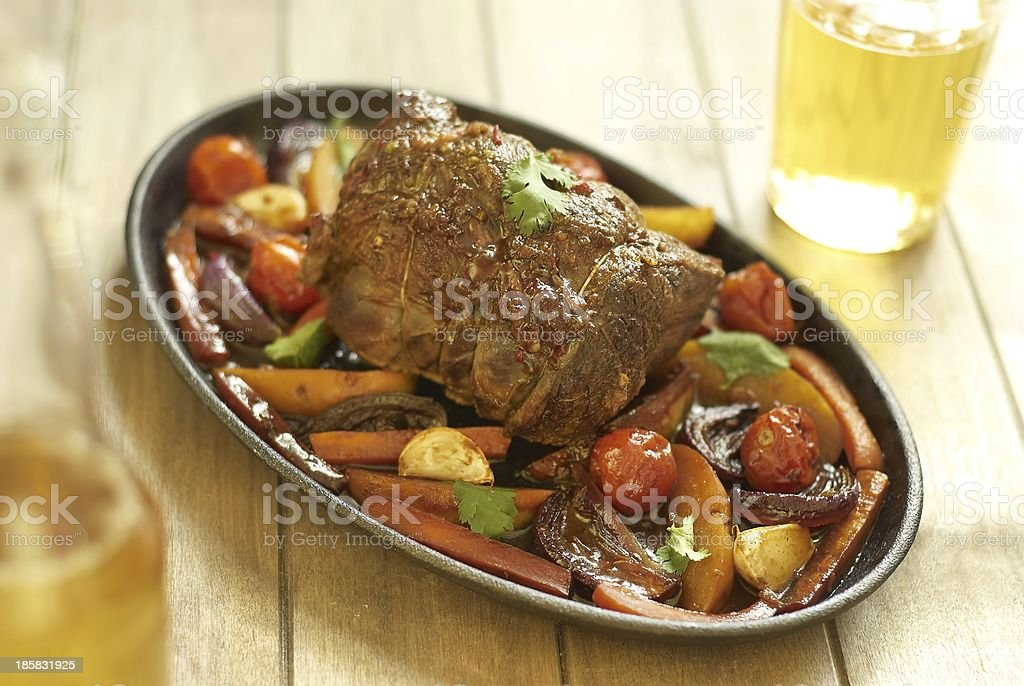Baked veal with vegetables royalty-free stock photo