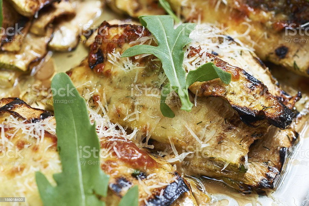 Baked vegetable marrows stock photo