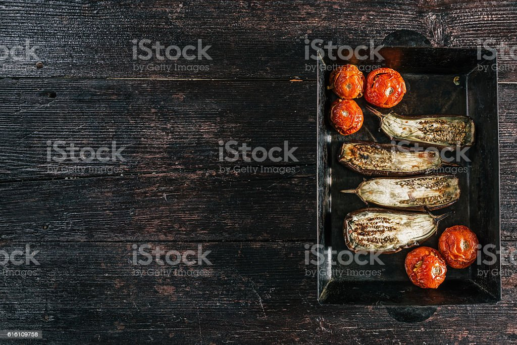 Baked vegetable on the tray stock photo