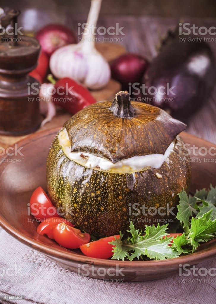 Baked veggie round squash stock photo