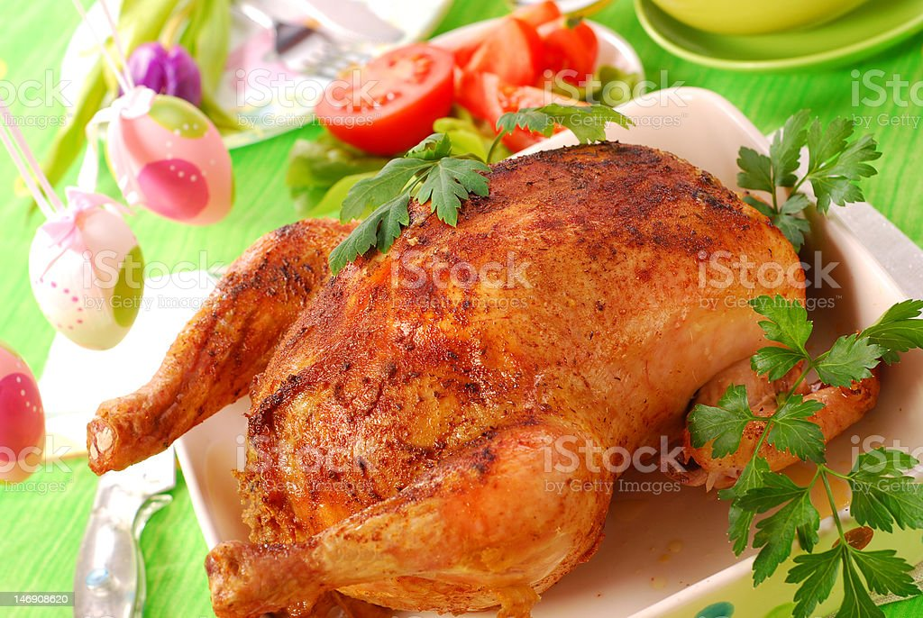baked whole chicken royalty-free stock photo