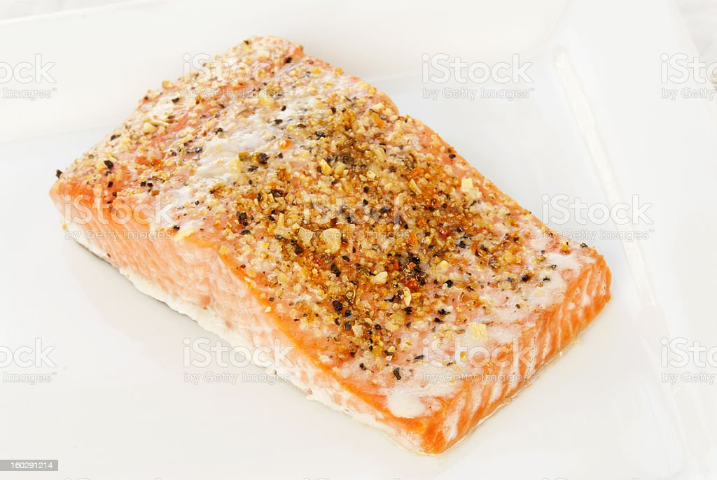 baked wild Alaskan sockeye salmon covered with lemon pepper seasoning royalty-free stock photo