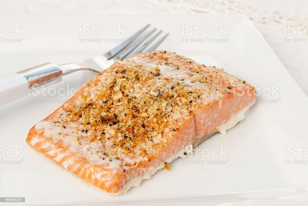 baked wild Alaskan sockeye salmon with lemon pepper herbs royalty-free stock photo