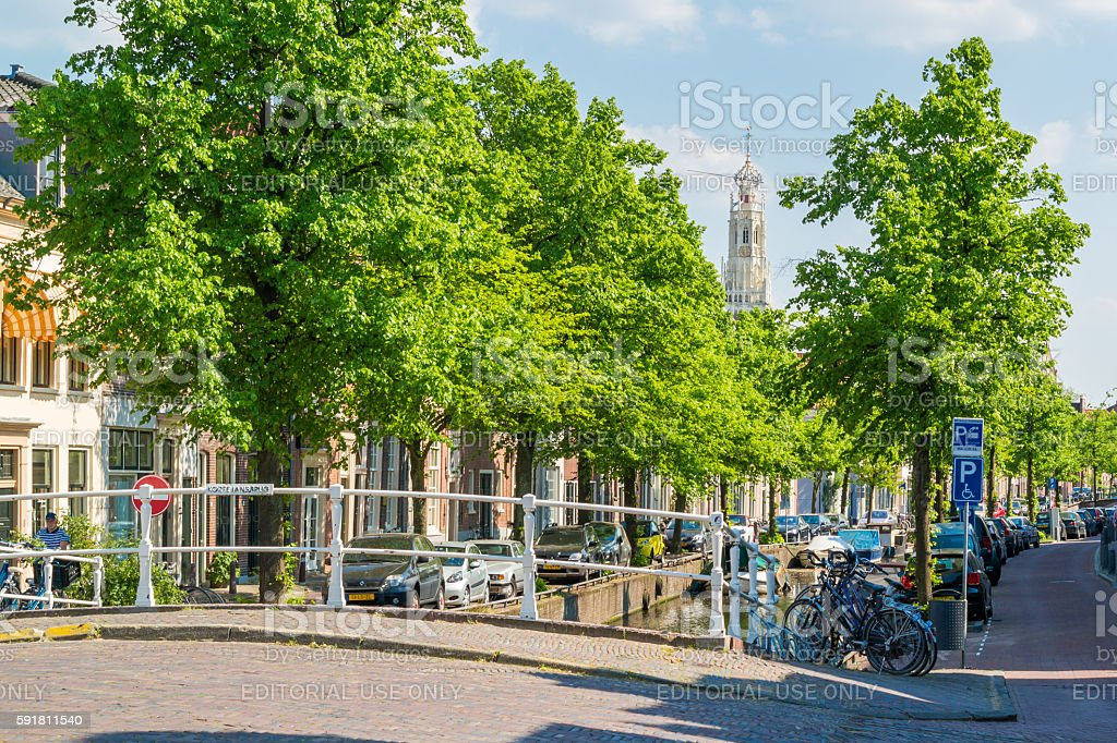 Bakenesser canal and church in Haarlem, Netherlands stock photo