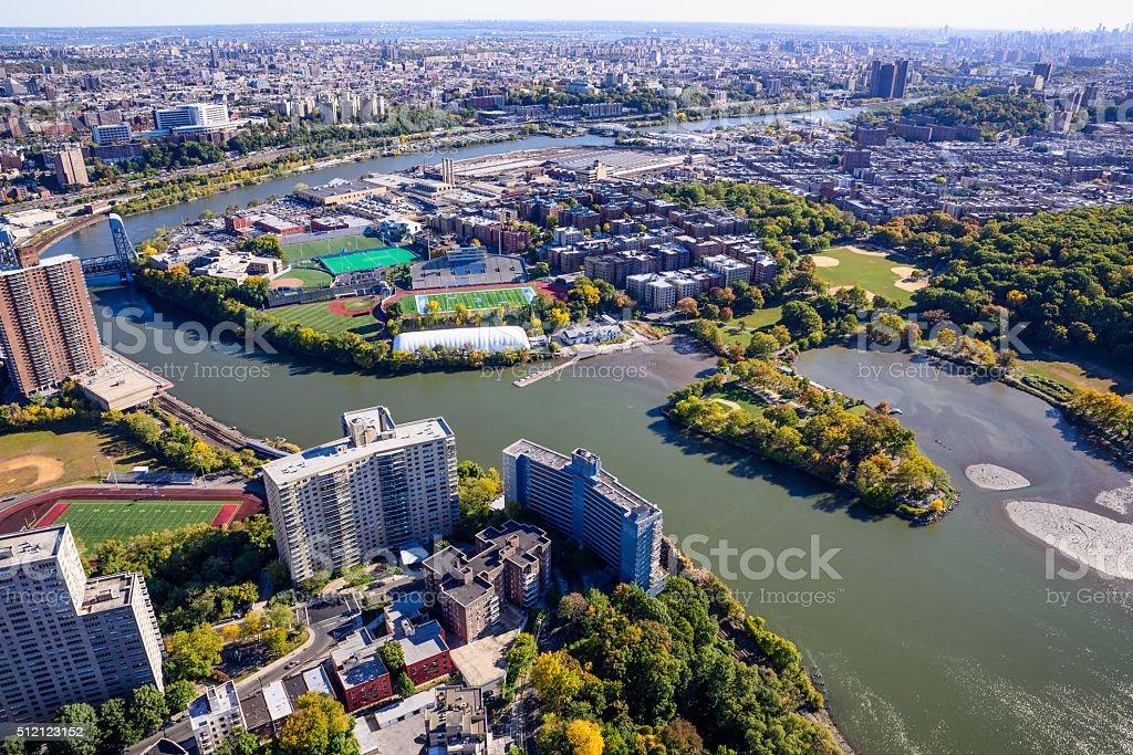 Baker Athletic Complex, Columbia University Campus, Spuyten Duyvil Creek, Bronx stock photo