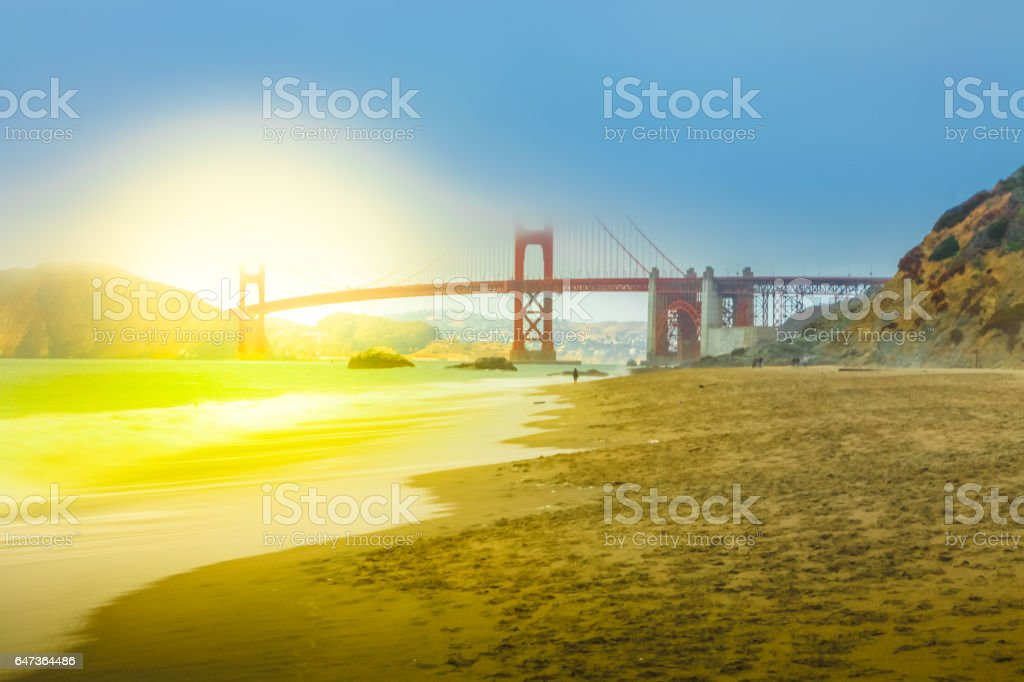 Baker Beach in San Francisco stock photo
