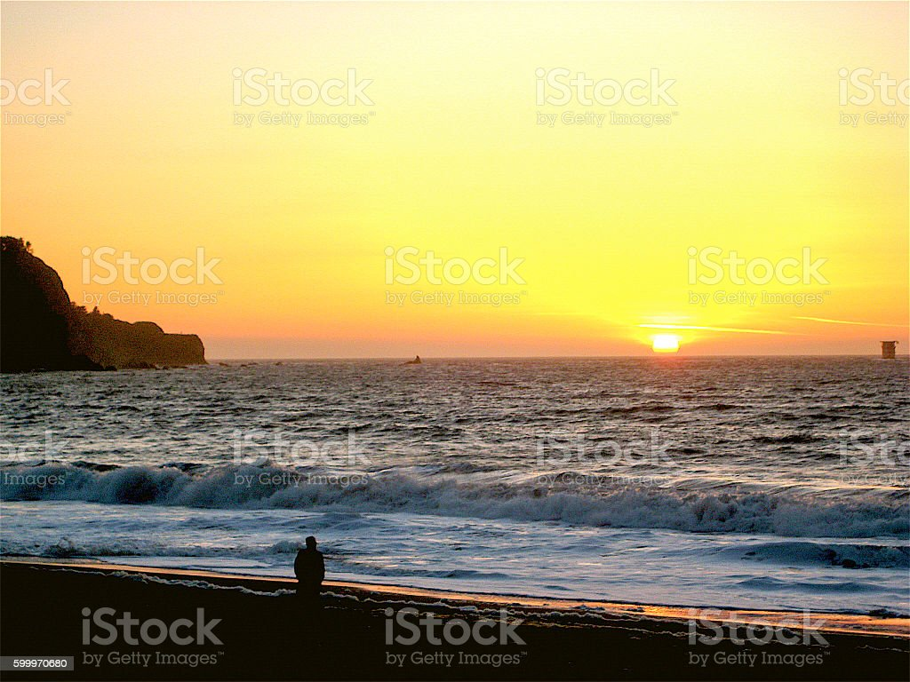 Baker Beach Sunset stock photo