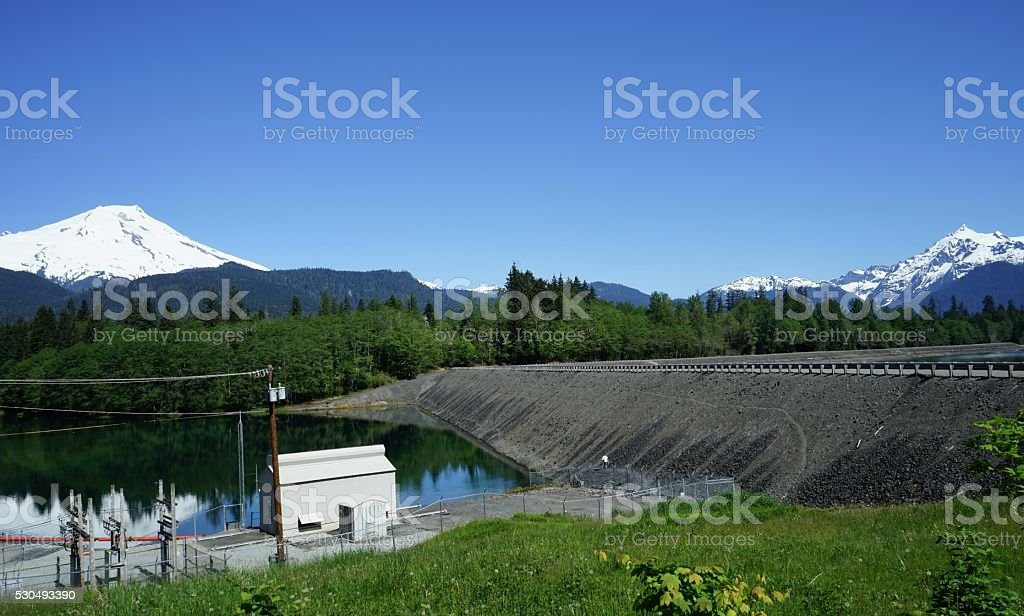 Baker Lake Dam stock photo