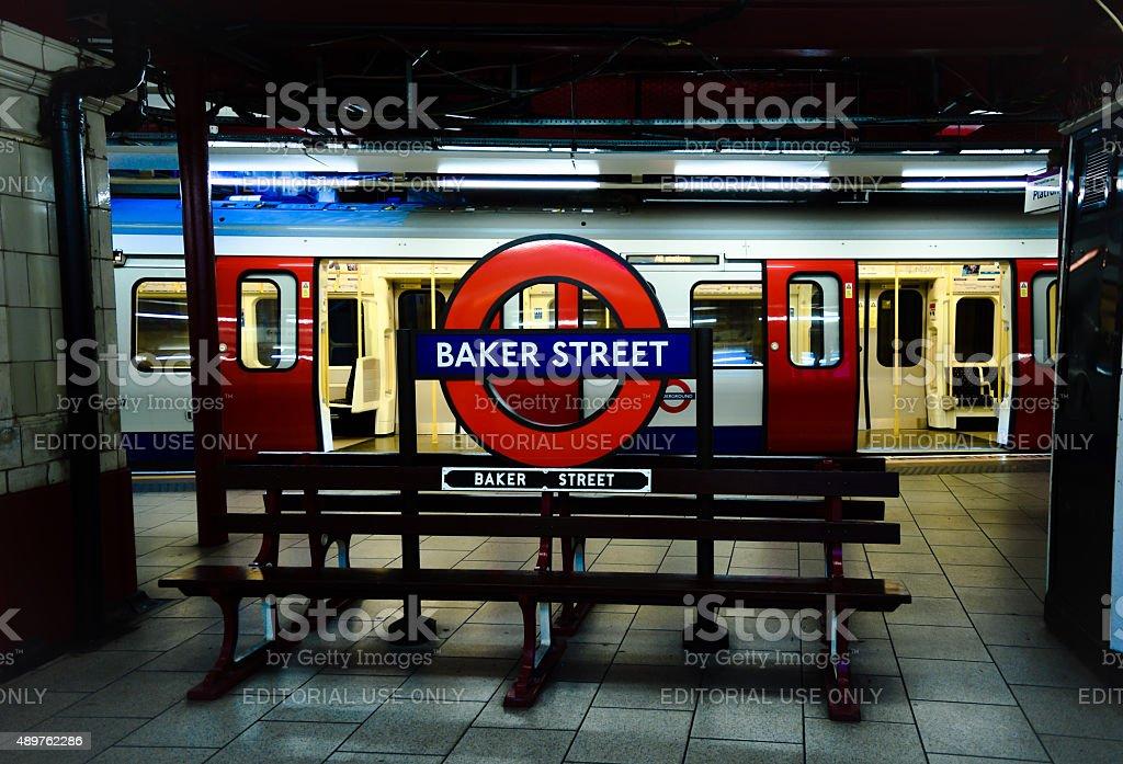 Baker Street Underground Station Bench stock photo