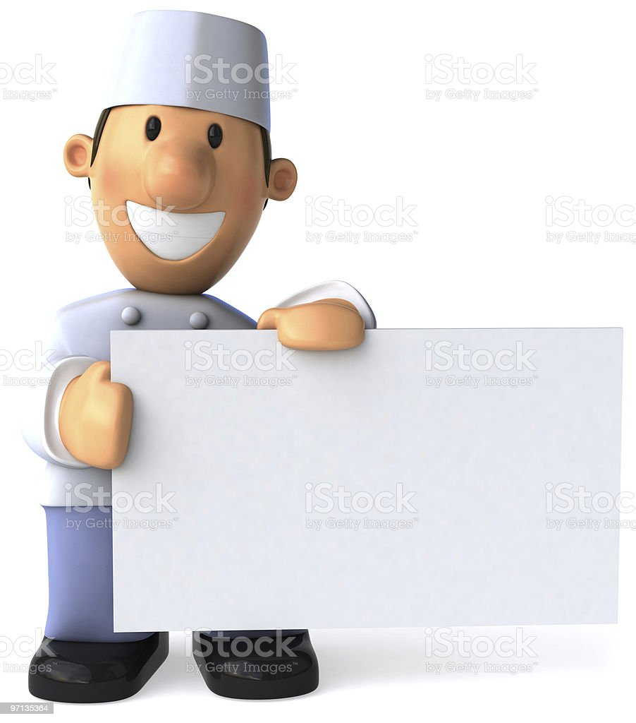 Baker with a blank sign stock photo