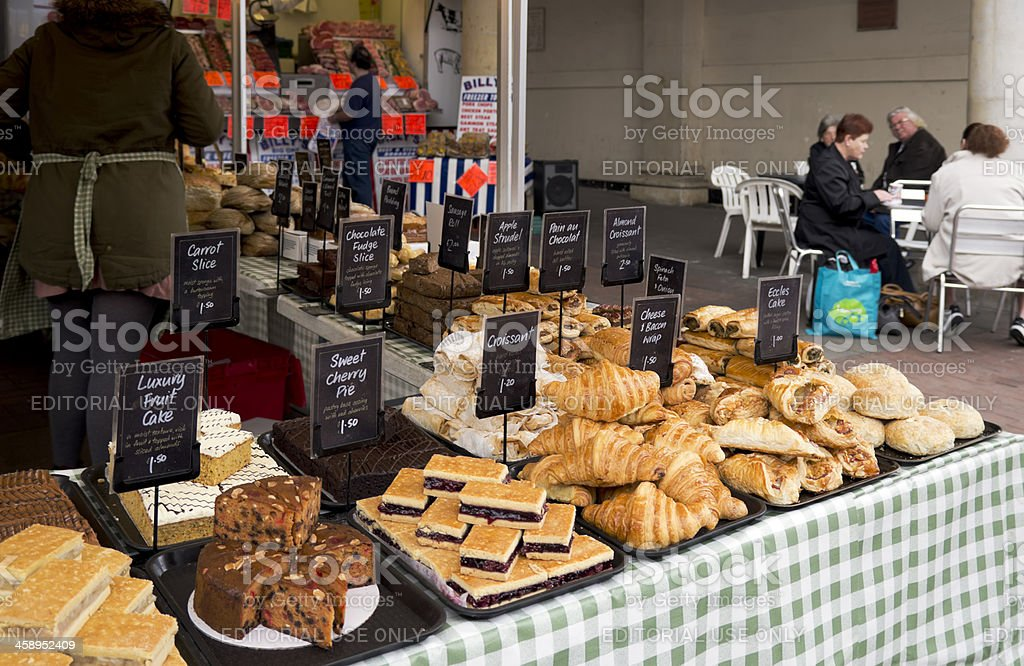 Baker's and butcher's stalls stock photo