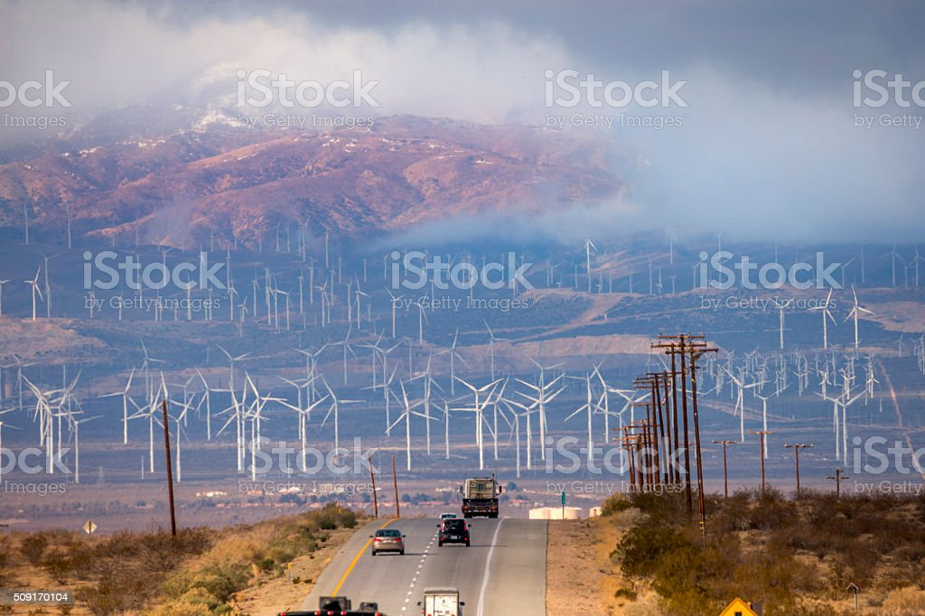 Bakersfield Wind Farm under Fog stock photo
