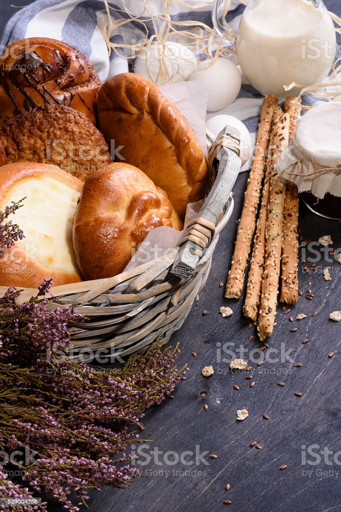 Bakery and dairy for breakfast stock photo