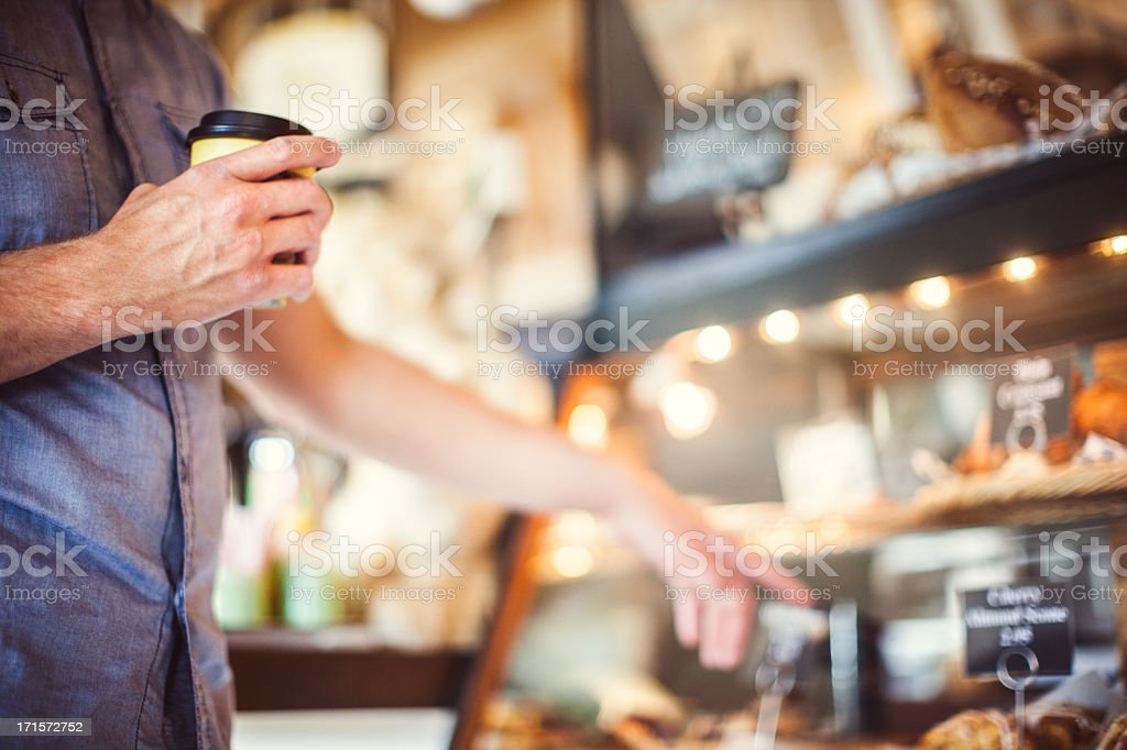 Bakery and Man Placing Order stock photo