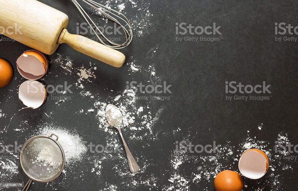bakery background : baking ingredients stock photo