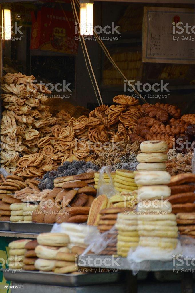Bakery in Hohhot Muslim Quarter, Inner Mongolia, China stock photo