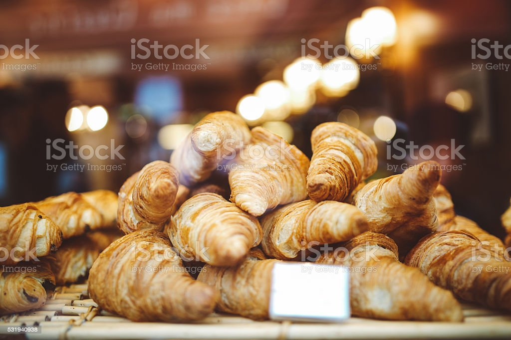 Bakery in Paris, France with fresh croissants stock photo