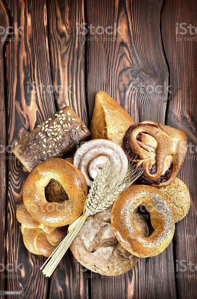Bakery products on wooden boards royalty-free stock photo