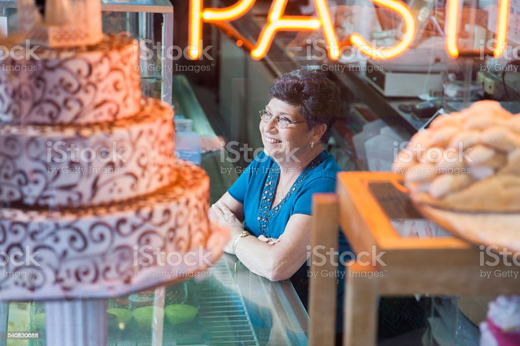 Bakery shop owner stock photo