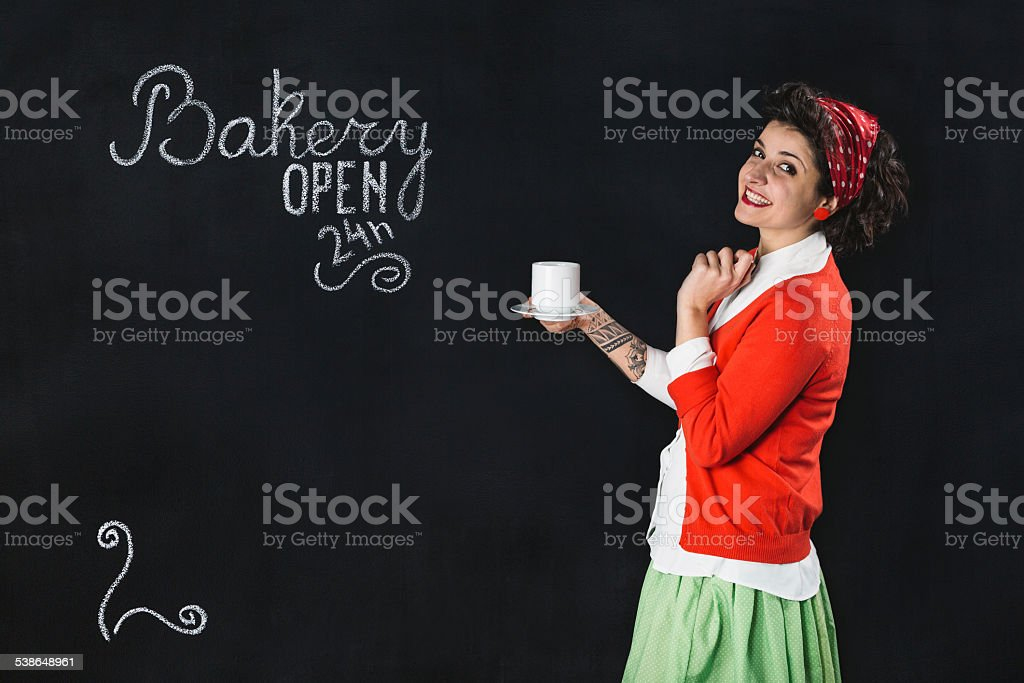 Bakery sign on a blackboard stock photo