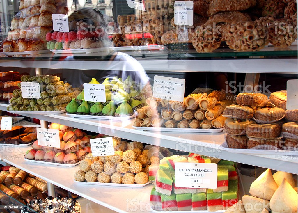 bakery storefront: french pastry stock photo
