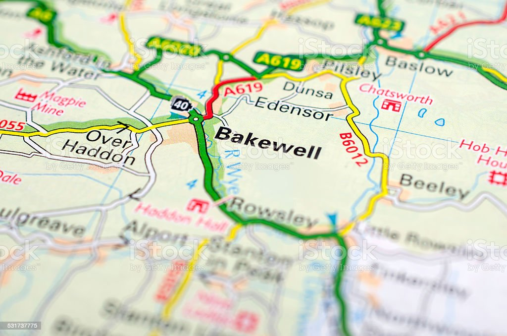 Bakewell on road map stock photo