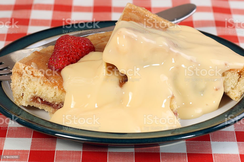 bakewell pudding with custard stock photo