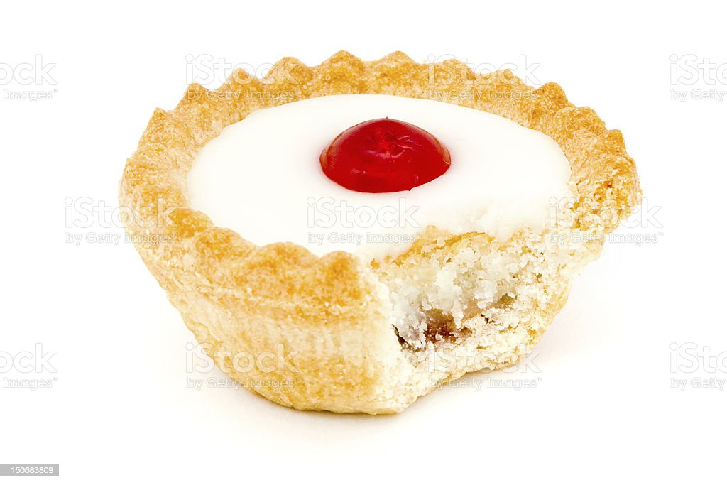 Bakewell tart with a missing bite stock photo