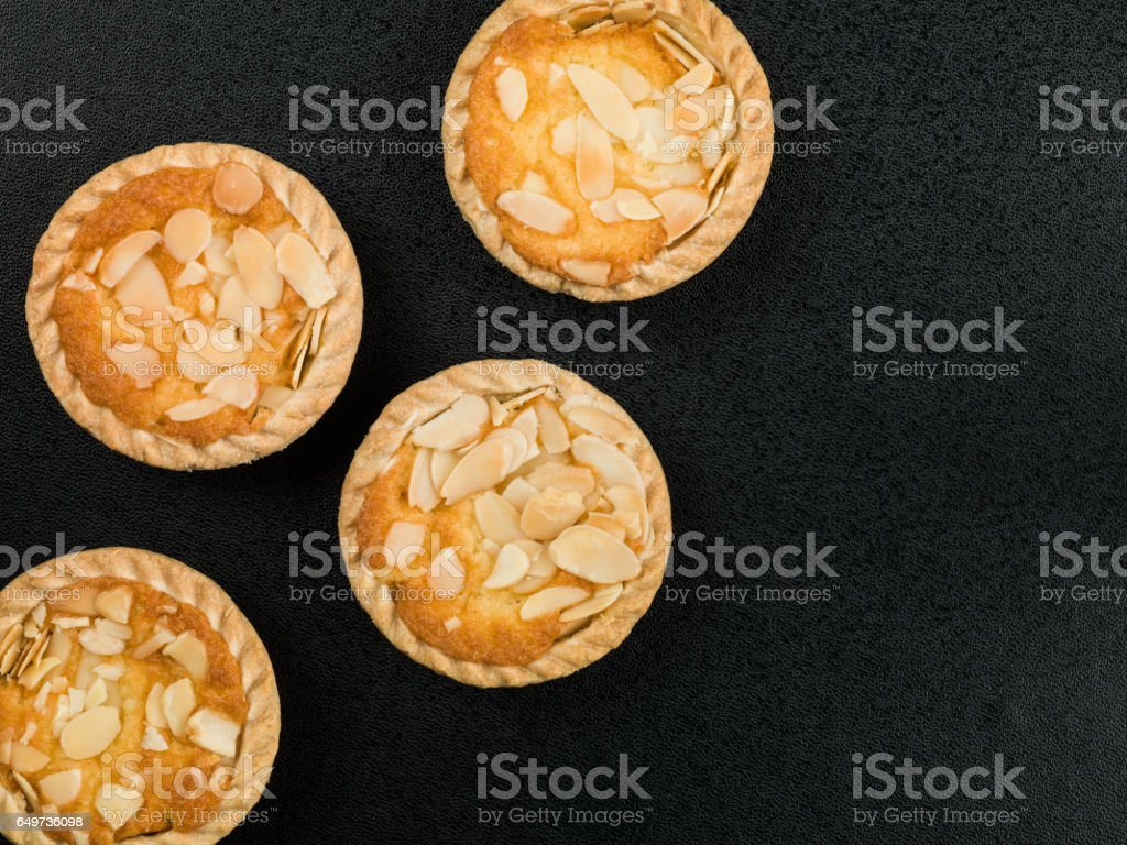 Bakewell Tarts Topped With Roasted Almonds stock photo