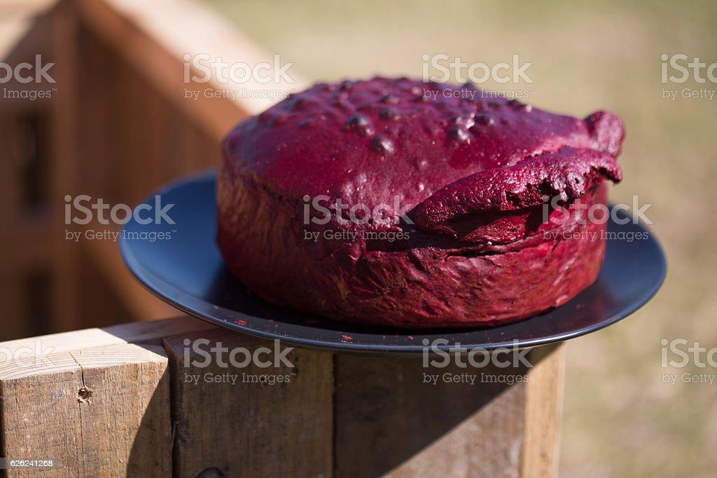 Baking a Red Velvet Cake stock photo