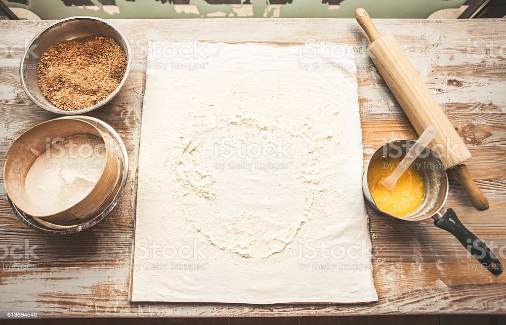 Baking background with eggs, flour, rolling pin. stock photo