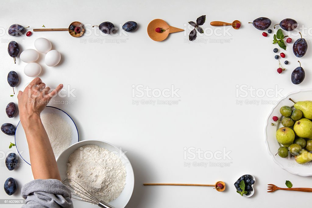 Baking background with ingredients for fruit stock photo