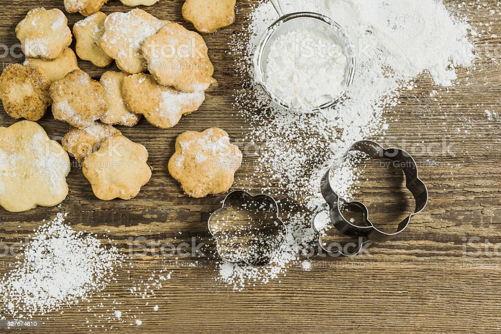 baking biscuits process stock photo
