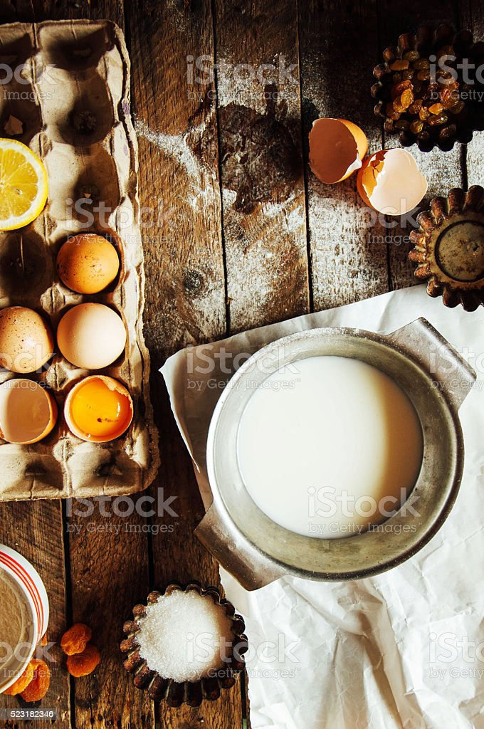 Baking cake ingredients - bowl, flour, eggs stock photo