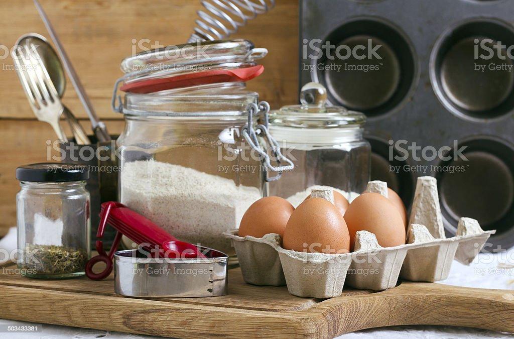 Baking cake ingredients stock photo