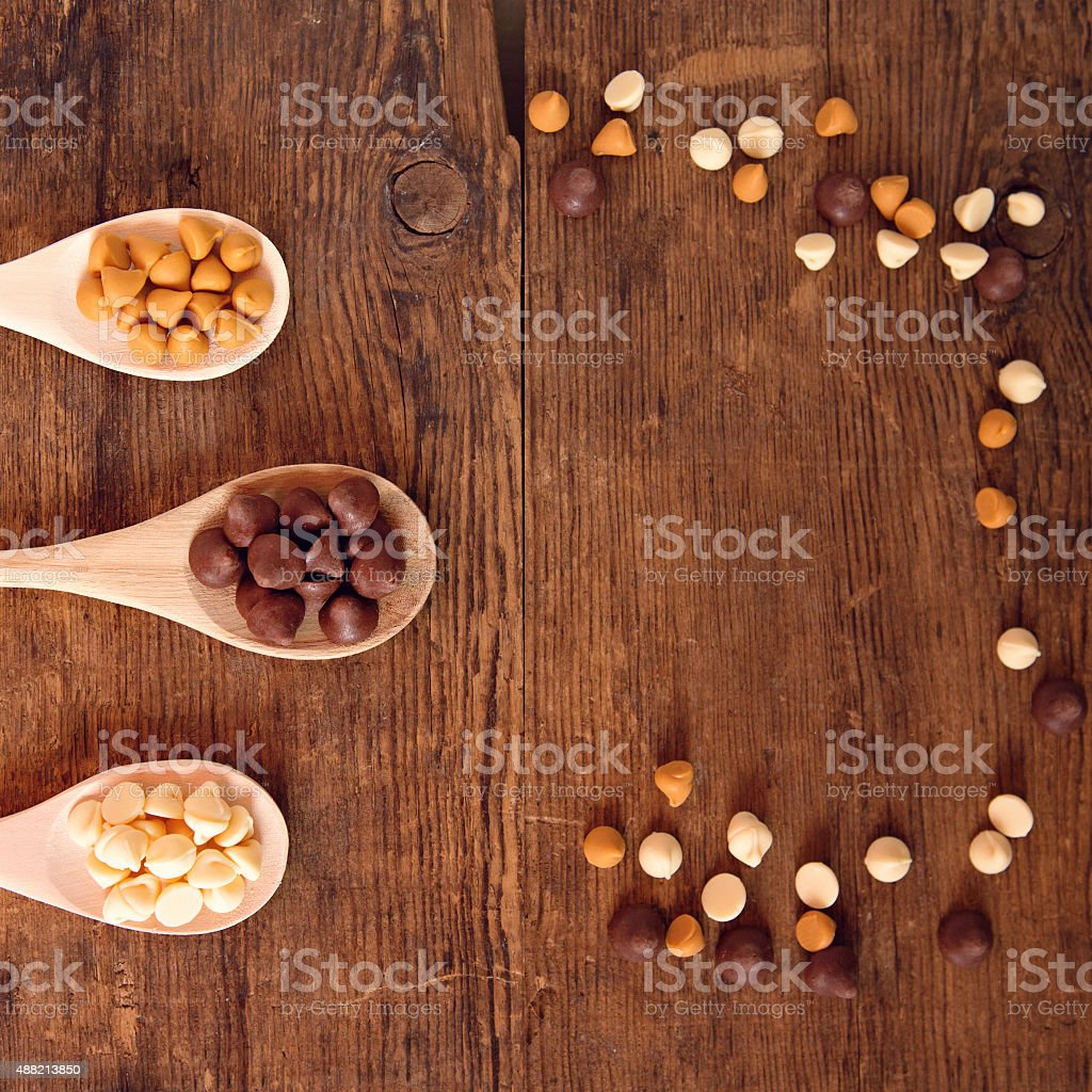 Baking Candy Chips on Wooden Spoons stock photo