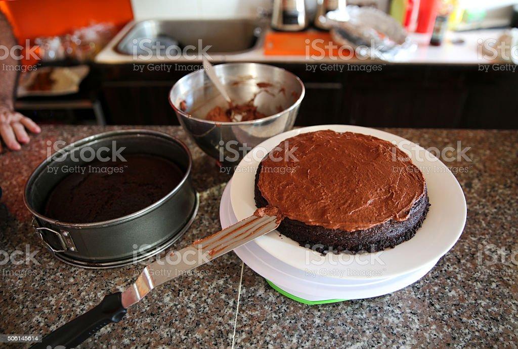 Baking Chocolate Cake stock photo