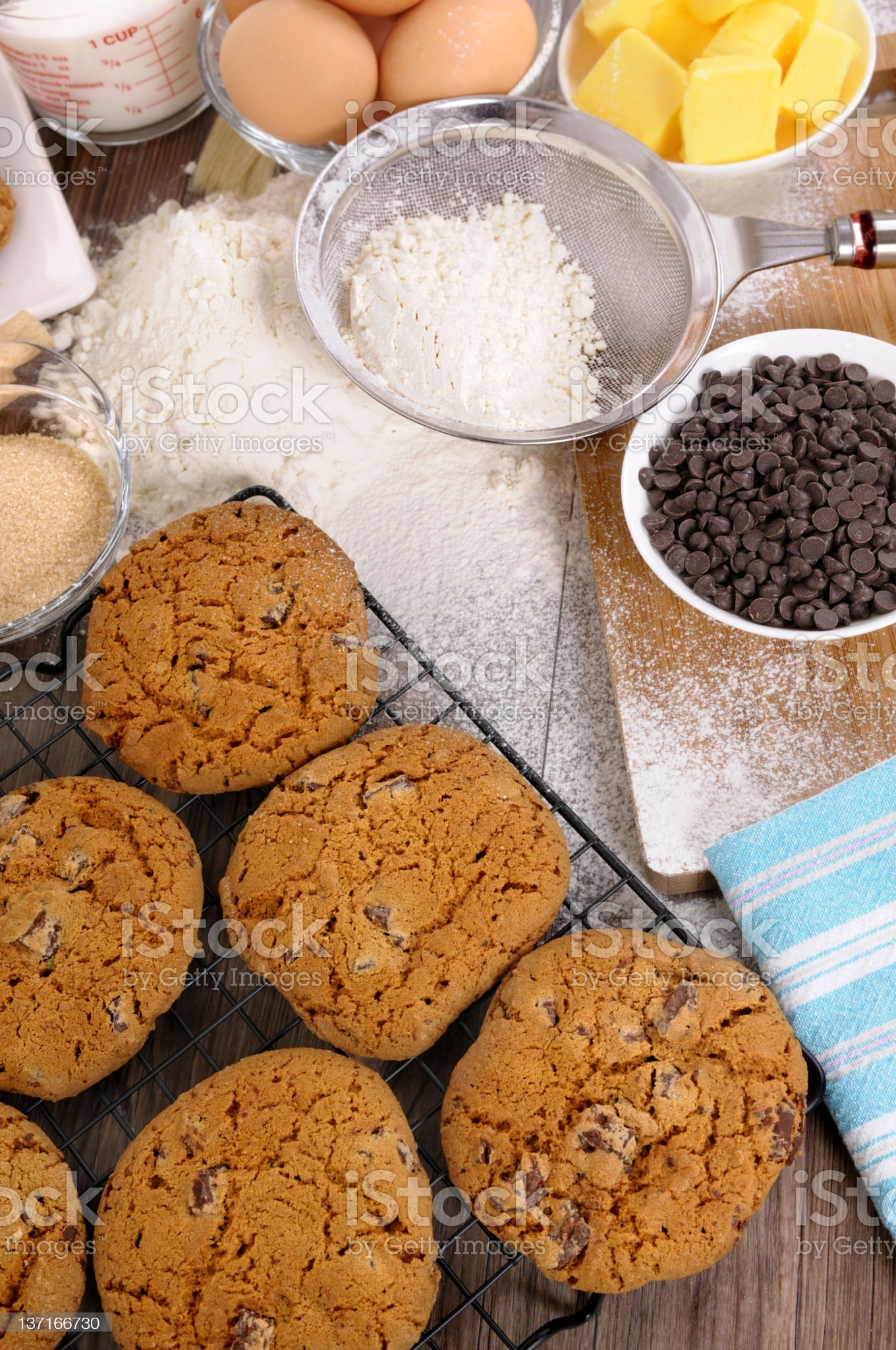 Baking chocolate chip cookies with ingredients royalty-free stock photo