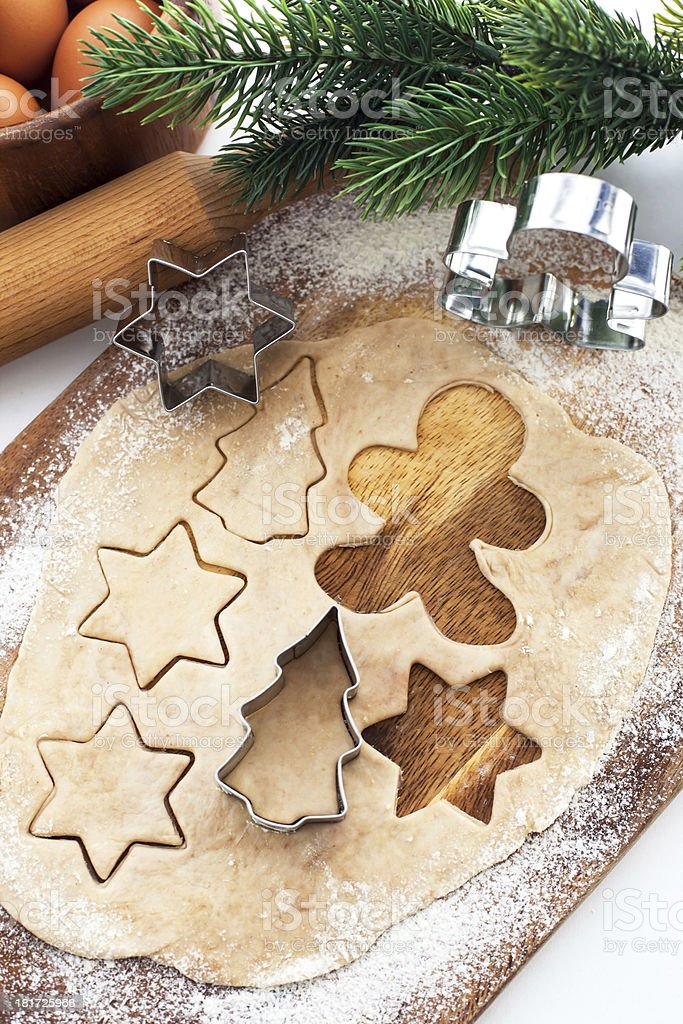 Baking Christmas cookies and gingerbread royalty-free stock photo