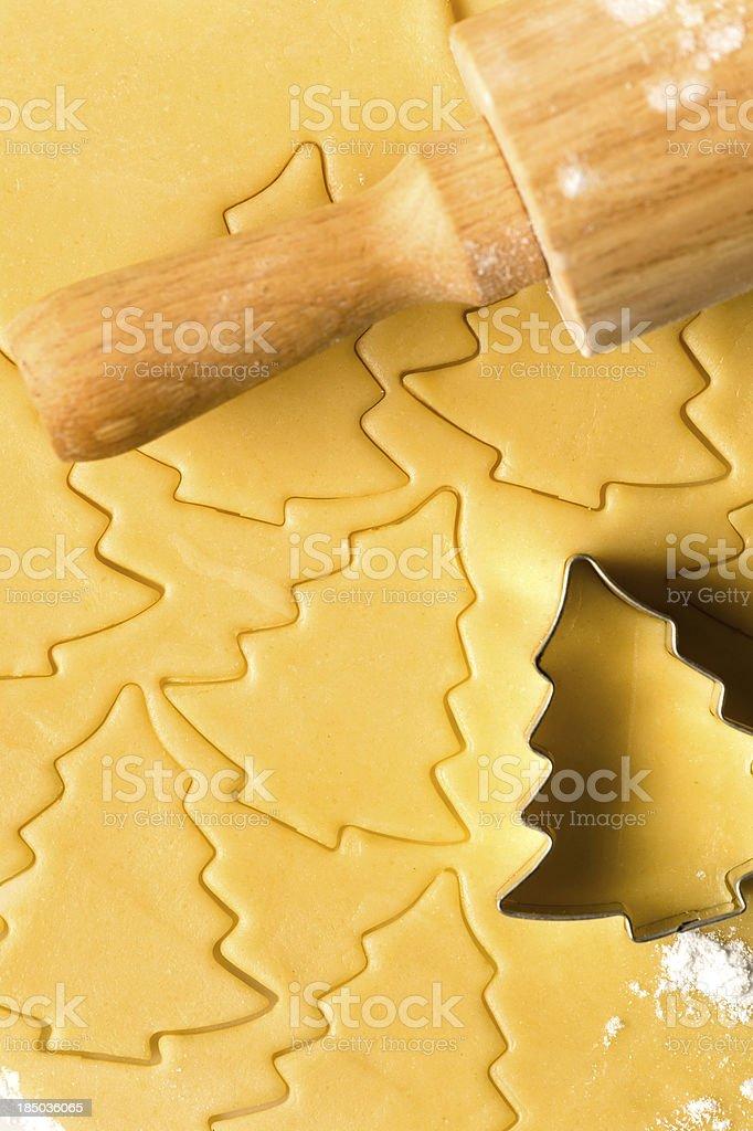 Baking christmas cookies dough rolling pin royalty-free stock photo