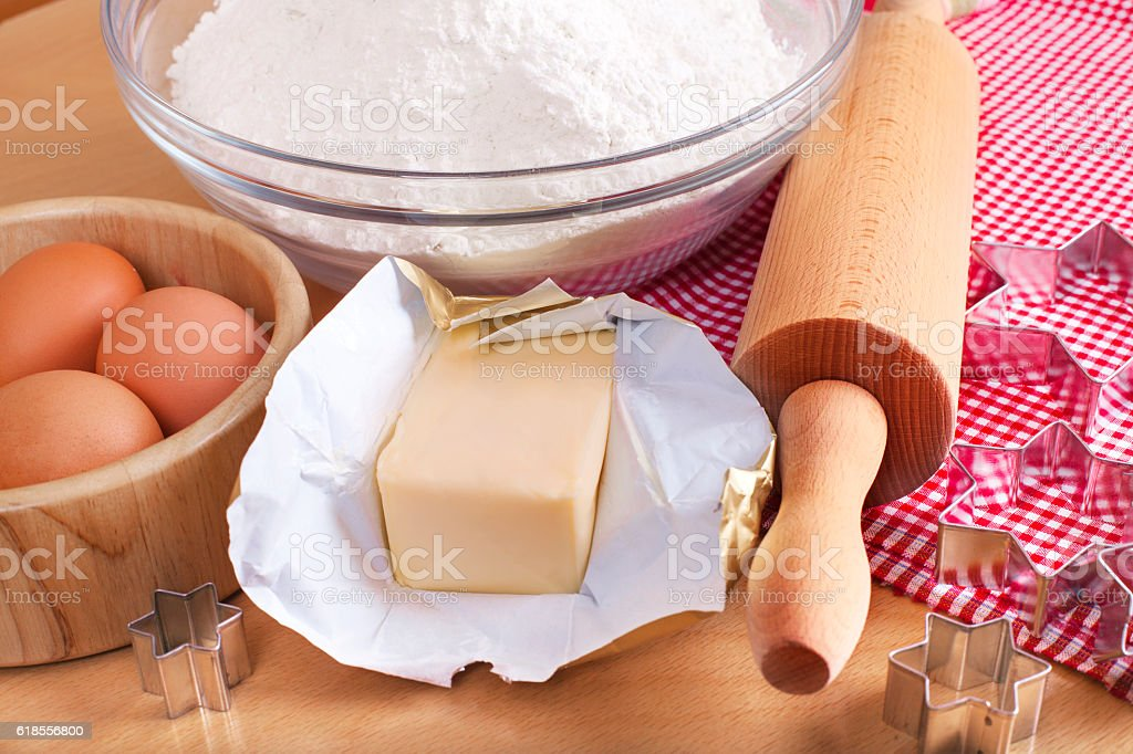 Baking Christmas gingerbread cookies stock photo