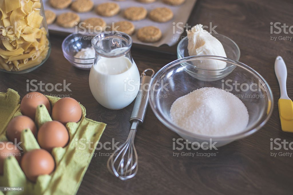 Baking cookies background stock photo