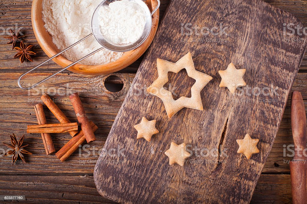 Baking cookies for Christmas stock photo