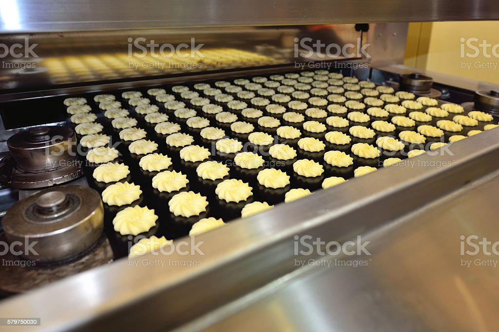 Baking Cookies in the Oven Production Line stock photo