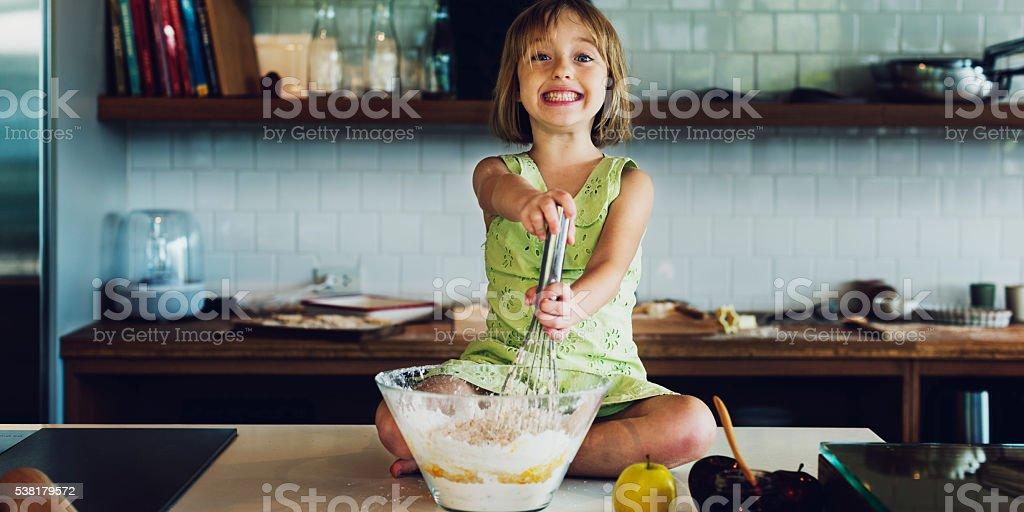 Baking Cookies Kid  Bakery Fun Concept stock photo