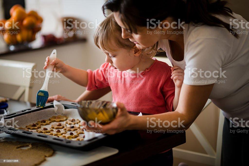 Baking cookies stock photo