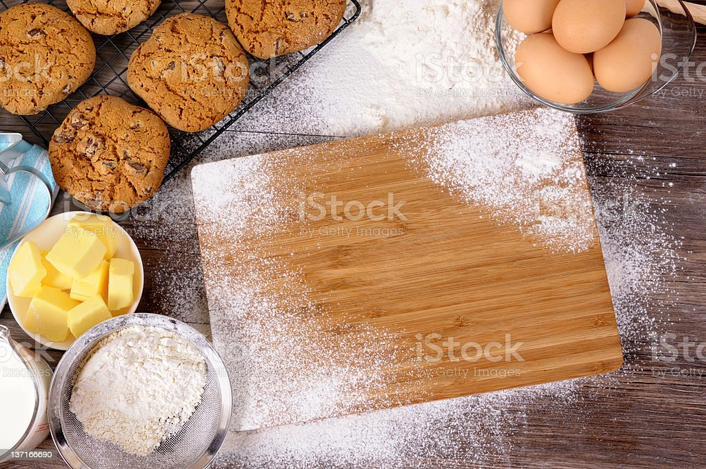 Baking cookies with ingredients royalty-free stock photo