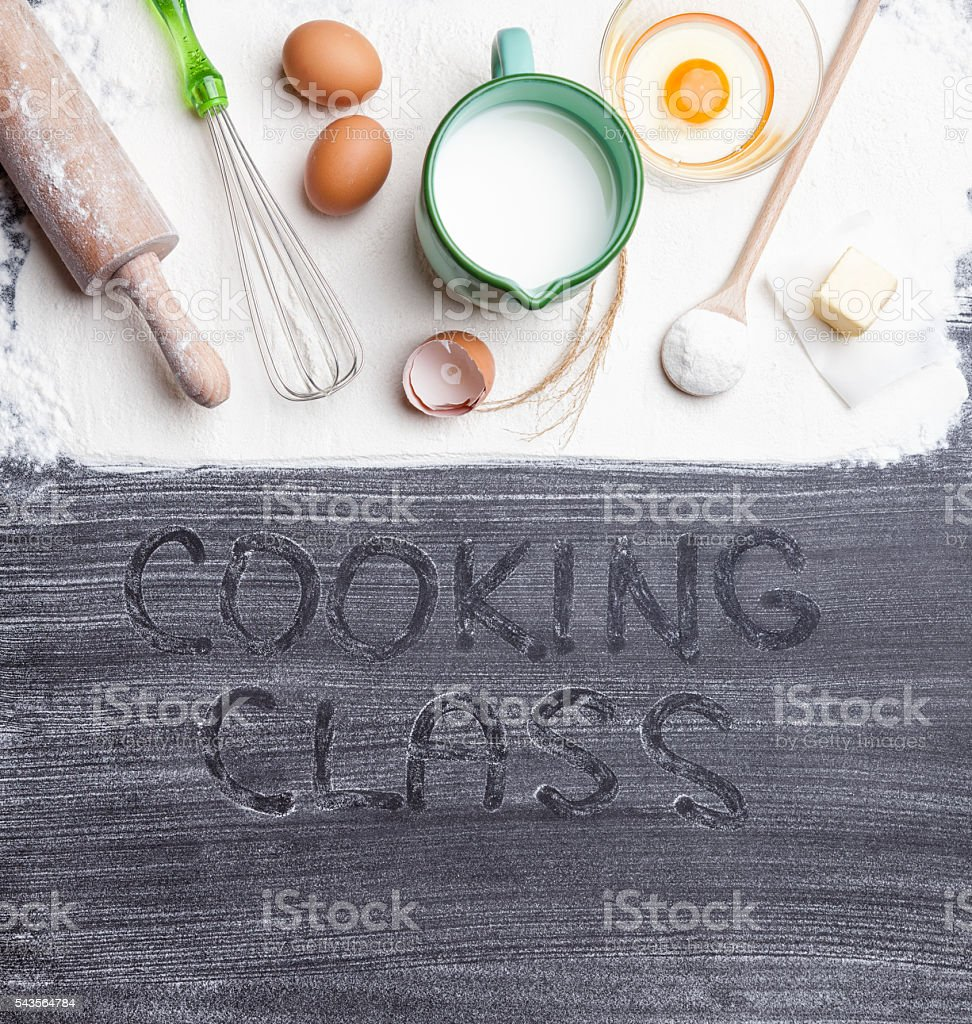 Baking & cooking concept, variety of ingredients and utensils stock photo