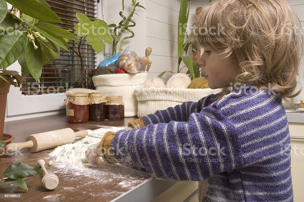 baking first christmas cookies royalty-free stock photo