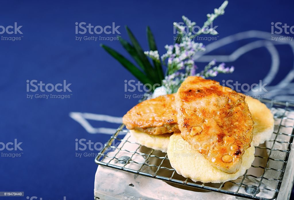 Baking foie gras stock photo